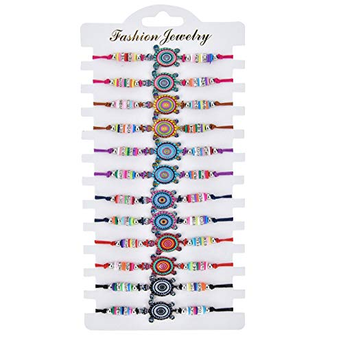 Janly Clearance Sale Women Bracelets , Bohemian Alloy Soft Ceramic Animal Woven Children's Bracelet 12 Bracelets Set , Valentine's Day Birthday Jewelry Gifts for Ladies Girls (B)