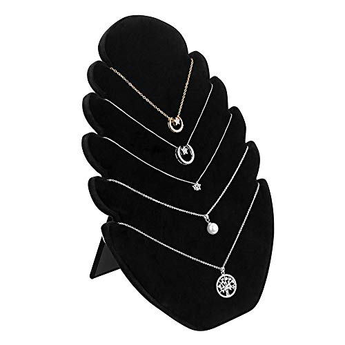 EMAGEREN Expositor de Collares Soporte de Collares de Terciopelo Colgador de Collares Negro Organizador de Collares con 5 Muescas Soporte de Exhibición de Joyería para Guardar Collares/Pulsera/Cadena