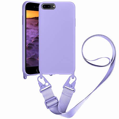 SAMCASE Funda con Cuerda para iPhone 8 Plus/iPhone 7 Plus, Carcasa de Silicona Líquida, Protección Case con Correa Colgante Ajustable Collar Correa de Cuello Cadena Cordón, Morado
