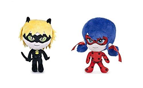 Miraculous Packung 2x Plüschtiere Superheldin Ladybug & Cat Noir 20cm Plüsch Adrien Agreste und Marinette Stofftier Kuscheltiere Serie
