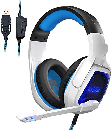Sades Spirit Wolf 7.1 Surround Stereo Sound, USB Gaming Headset with Microphone, Noise isolating, Breathable LED Light for PC Gamers (Black and White)
