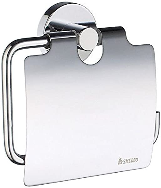 Smedbo SME HK3414 Toilet Roll Euro Holder With Lid Polished Chrome