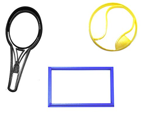 TENNIS BALL RACKET COURT SPORT ATHLETICS SET OF 3 SPECIAL OCCASION COOKIE CUTTERS BAKING TOOL 3D PRINTED MADE IN USA PR1373