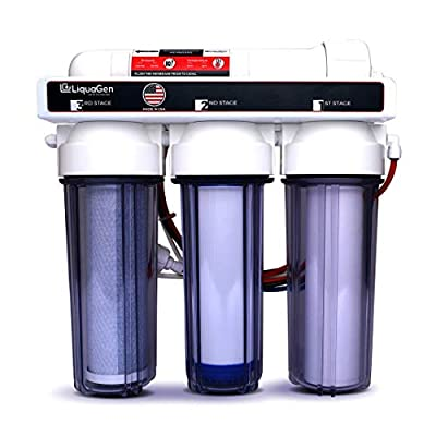 LiquaGen 4 - Stage Hydroponics Reverse Osmosis Water Filtration System,100 GPD