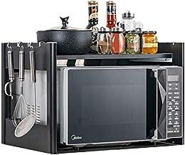Microondas digitales horno ZPEM horno de microondas estante Estantería de cocina, 2-Tier acero inoxidable condimento Estante de almacenamiento, Portaherramientas, puede soportar 85kg horno de microond
