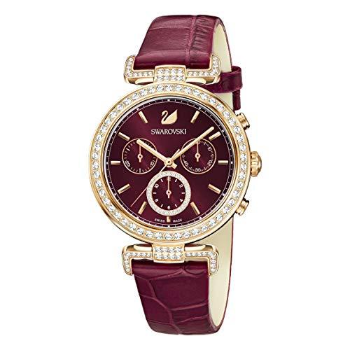 Swarovski Reloj Era Journey, Correa de piel, rojo oscuro, PVD en tono Oro Rosa