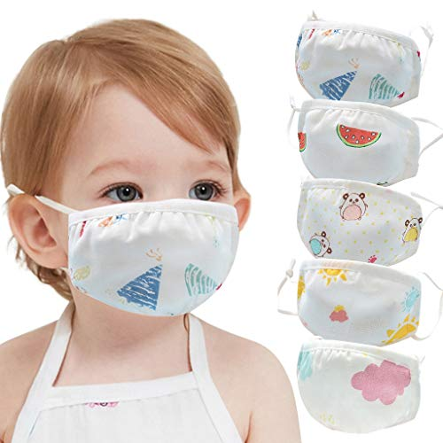 Baby Face Bandana Seamless Protection Cute Cartoon Kids Boys & Girls School Students Washable Reusable Mouth Breathable Comfortable Facial Towel with Adjustable Ear Loops (Cartoon#02, 5PC)