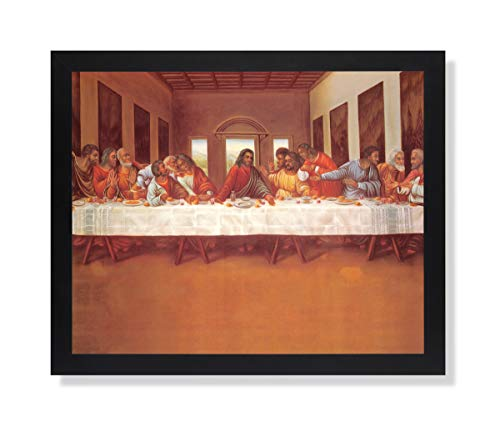 Black African American Last Supper Religious Wall Picture Black Framed Art Print
