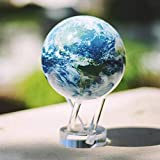 4.5 Inch MOVA Rotating Desk Globe, Satellite View With Clouds