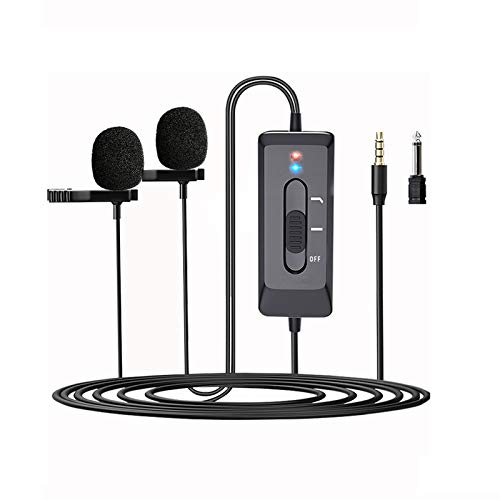 Lavalier Lapel Microphone for iPhone,Camera,PC,Android, Omnidirectional Noise Reduction Professional Clip On Mic with USB Charging for Recording YouTube,Video, Vlogging,Interview