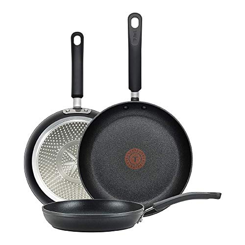 T-fal E938S3 Professional Total Nonstick Thermo-Spot Heat Indicator Fry Pan Cookware Set, 3-Piece, 8-Inch 10.5-Inch and 12.5-Inch, Black