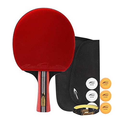 Wakauto Raquetas de Tenis de Mesa de Seis Estrellas Raqueta de Ping Pong con Agarre Antideslizante Adecuada para Entrenamiento Profesional (Agarre Horizontal)