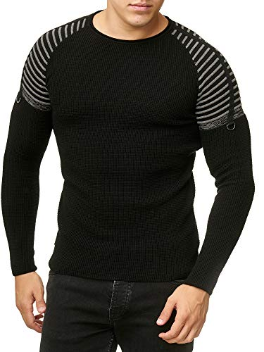 Redbridge Suéter de Punto Fino para Hombre Jersey Design Striped Shoulder Negro L