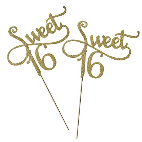 OUNONA 2?Tortenaufsatz Gold Monogramm Sweet 16. Geburtstag Jahrestag Tortenaufsatz, f¨¹r Sweet Party Themen Dekoration (Gold)