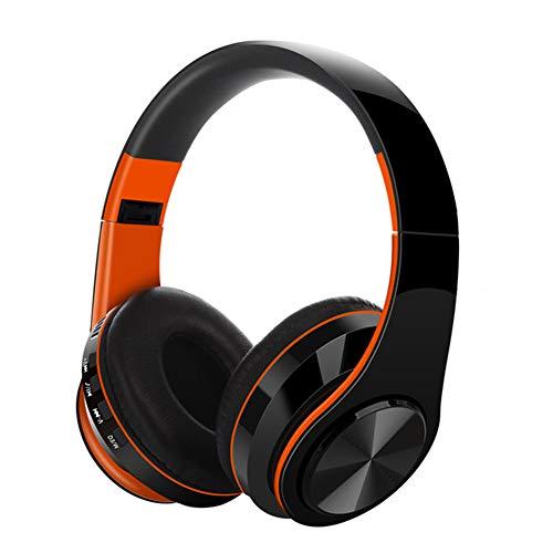 Auriculares inalámbricos sobre la oreja, auriculares Bluetooth 5.0, modos con cable e inalámbrico incorporados, micrófono, plegables, auriculares estéreo naranja