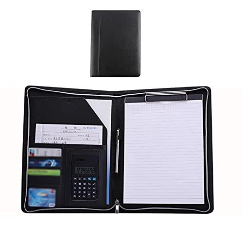 QYQS Portafolio de Cuero con Calculadora de 8 Dígitos, Organizador de Cartera con Cremallera, Organizador de Documentos Importante Multifunción A4(Size:8-Digit Calculator,Color:Negro)