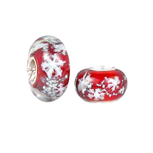 Andante-Stones 925 Sterling Silber Murano Bead Charm Schneeflocken (rot) Element Kugel für European Beads + Organzasäckchen