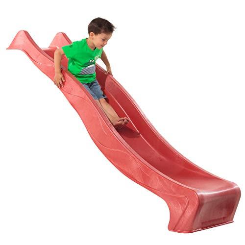 Demmelhuber Rutsche WATERSLIDE 2,30 m mit Wasseranschluss für Spielturm Wellenrutsche Gartenrutsche Kinderrutsche Anbaurutsche Wasserrutsche (Rot)