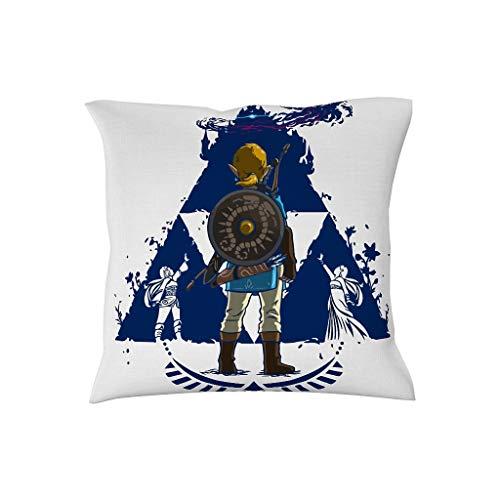 NiTIAN - Funda de cojín (45 x 45 cm, Fibra de poliéster), diseño de Zelda, Color Azul, poliéster, Blanco, 18 x 18