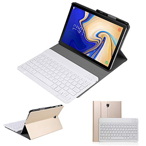 Samsung Galaxy Tab S4 10.5 2018 Keyboard Leather Case, Slim Detachable Folio PU Case Wireless Bluetooth Built-in Stand Removable Cover with Auto Sleep/Wake for SM-T830/T835/T837 (Golden)