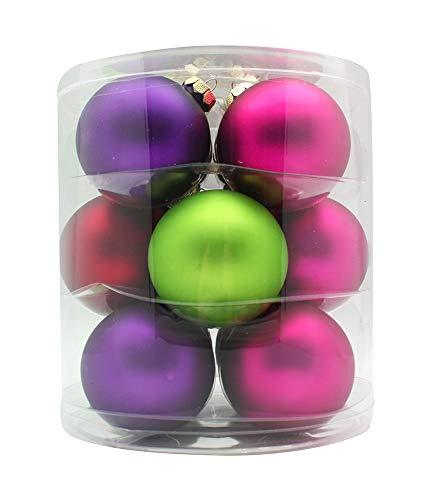 MAGIC Weihnachtskugeln Glas 8cm 12 STK. Christbaumkugeln Farbe: Happy Xmas (lila/grün/rot/Fuchsia/Magenta)