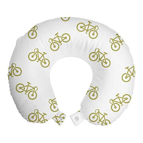 ABAKUHAUS Caqui Cojín de Viaje para Soporte de Cuello, Diseño Simple Pictograma de Bicicletas, de Espuma con Memoria y Funda Estampada, 30x30 cm, Caqui Blanca