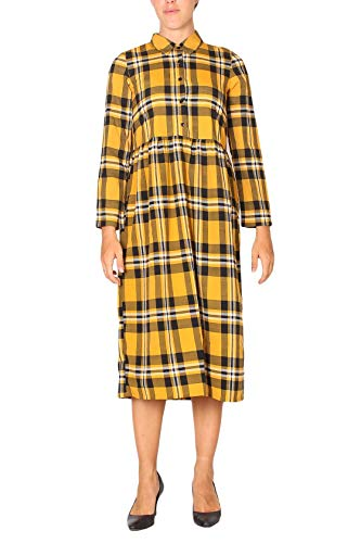 COMPAÑÍA FANTÁSTICA Vestido Midi Mostaza, Amarillo (Cuadros 000058), 38 (Tamaño del Fabricante:S) para Mujer