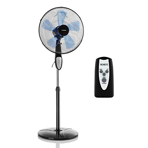 """Klarstein Summerjam - Fan, Pedestal Fan, With Remote Control, Quiet, 5-Blade Rotor. 16"""" (41cm) Diameter, Switchable 80? Oscillation, Energy Saving, 50 W, 3 Speeds, 4 Timer Options, Stable Base"""