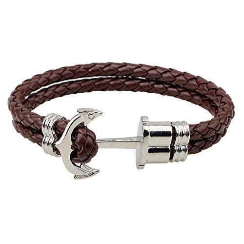 ABWEY Pulsera de cuentas simple, pulsera de ancla de cuero con patrón de serpiente, pulsera de joyería de hip-hop-marrón