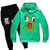 Unspeakabe Kids Pullover Outfit Sweatshirt Suit Childs Hoodie And Jogger Tracksuit for Boys Girls Green 14-15 Years Old
