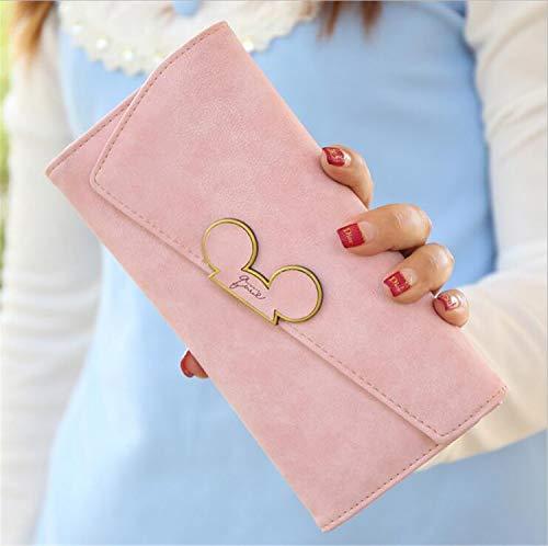 YasLa Roele Brieftasche Frau Scrub Langen Abschnitt Mickey Kopf magnetische Schnalle geneigten Cover dreifach gefalzt einzigartige Kreditkarteninhaber Geldbeutel (19,1 * 9,5 * 2,3 cm)