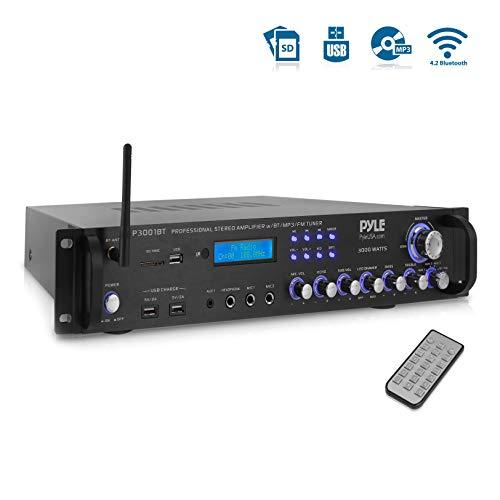 Multi-Channel Bluetooth Power Amplifier - 3000 Watt Audio Rack Mount Home Speaker Sound Stereo Receiver  FM Radio, USB, Headphone, RCA, Dual Microphone w/ Echo, LED, Wireless Streaming - Pyle P3001AT