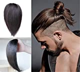 """Clip-in Invisible Forehead Slicked Back Undercut Hairpieces for Men, Top Piece Volume Hair Extensions for Women (6"""" Dark Brown)"""