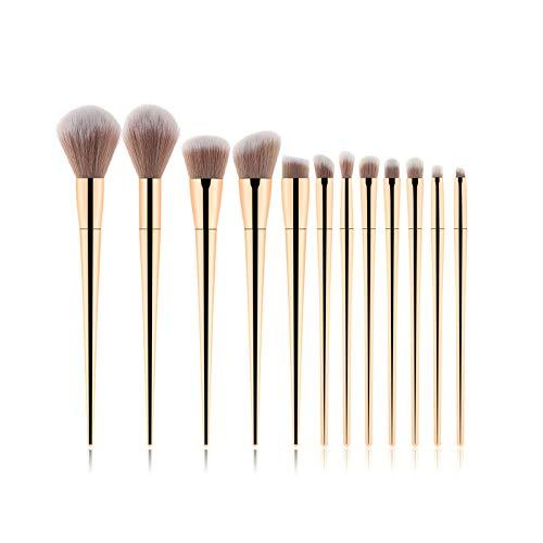 Pinceaux de Maquillage 11pcs Pinceaux De Maquillage En Bambou Fixés Avec Un Sac En Tissu Cosmétiques Visage Fondation Pinceau Poudre Fard À Joues
