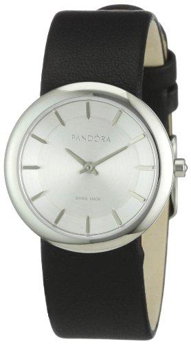 Pandora 811017WH - Reloj analógico de mujer de cuarzo con correa de piel negra