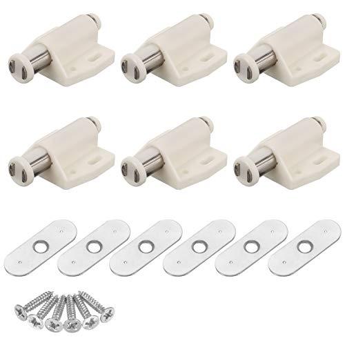 6 PCS Magnetische Türverriegelung Aufschieben Magnetische Touch-Verriegelung Kunststoff Soft Close Starke federbelastete Magnetverschluss mit Schlag für Schrank Schrank Kleiderschrank Küche