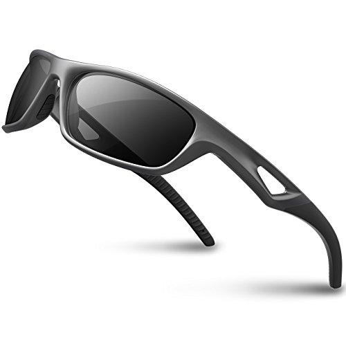 RIVBOS Gafas de sol deportivas polarizadas para hombres TR90 marco irrompible RB831 (plateado y negro)