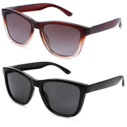 Braylenz 2 Pack Polarized Sports Sunglasses for Men and Women, 100% UV Protection Driving Sun Glasses (Clear Brown/Brown Gradient Lens + Black)