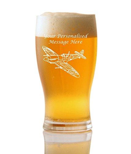 personalisierbar 1Pint Tulip Bier Glas mit Spitfire Design ohne Verpackung
