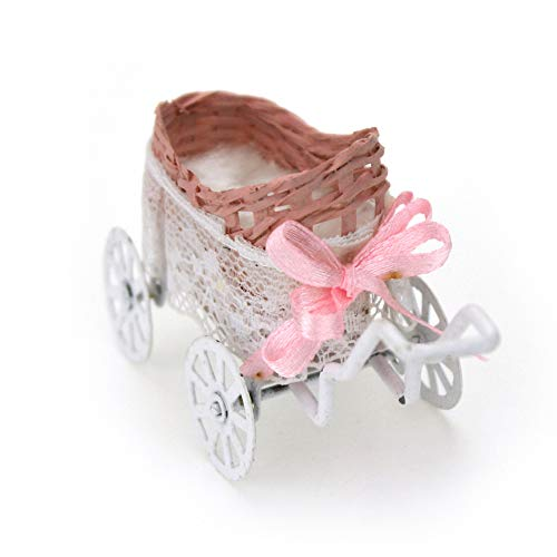 Ruby569y Casa de muñecas Accesorios para bricolaje, cochecito de bebé en miniatura para casa de muñecas escala 1/12 DIY decoración del hogar
