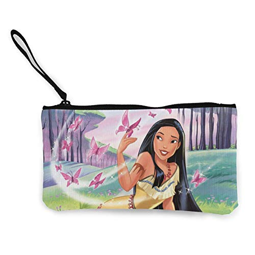 Pocahonta Women and Girls Cute Fashion Canvas Coin Purse,t Bag Change Pouch,with Zipper Multifunctional Cellphone Bag with Handle