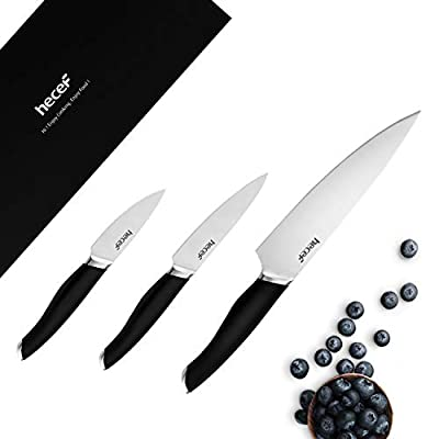 "Hecef Knife Set of 3, Includes 8"" Chef, 5""Utility, 3.5"" Paring Knife, 3 Pieces Sliver Knife Set with Comfortable Handle, Black ABS Handle Knives with Premium Stainless Steel Blade Knives"
