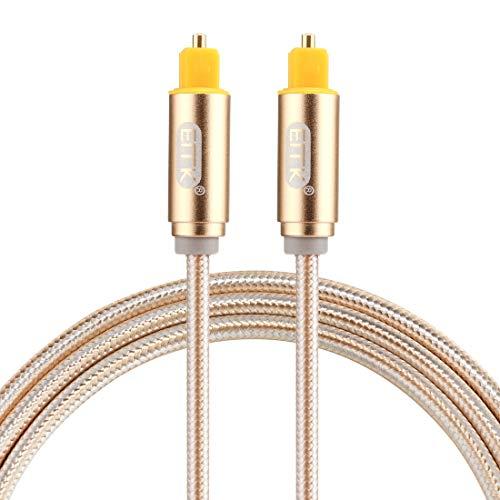 Sevenplusone Licht en mooi, gemakkelijk te dragen. 1 m OD4,0 mm vergulde metalen kop geweven lijn Toslink mannelijke naar mannelijke digitale optische audiokabel (goud), klein formaat, licht gewicht en gemakkelijk te dragen, Goud