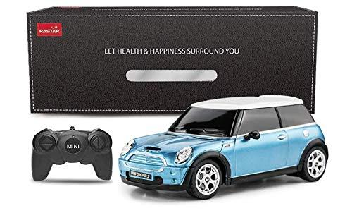 Rastar 1: 24mini Cooper tenuto in mano di telecomando R/C auto alimentato a batteria giocattolo blue