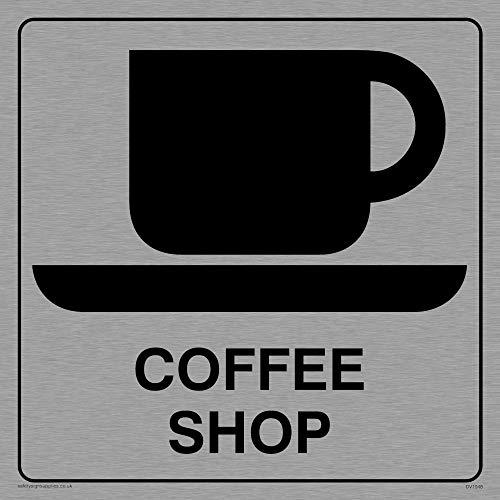 Viking Schilder dv1048-s15-ms'Coffee Shop' Sign, Positive Schwarz Text mit Bordüre, 1mm Edelstahl, 150mm H x 150mm W