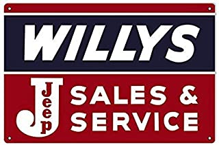 Liesin Pokoko Tin Sign Wall Decoration Retro Style Willy's Jeep Sales and Service Oil Gas Car Personalized bar Wall Decoration Plaque Metal tin 8 inchx12 inch