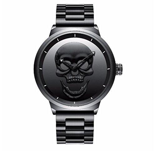 Chicandwatch LA Hell Skull Reloj de pulsera, diseño con calavera, acero, estilo biker/motero