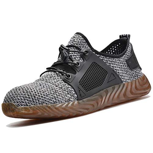 Koyike Zapatos de Seguridad con Gorra de Acero para Hombre, Zapatos Trabajo con protección contra Patadas, Zapatillas Deportivas de Seguridad indestructibles y Transpirables para Mujer,Grey-44