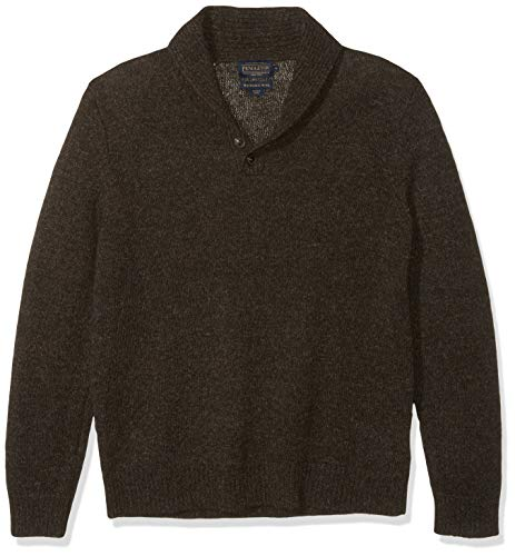 Pendleton Men's Shetland Shawl Collar Pullover Sweater, Dark Brown Mix, SM