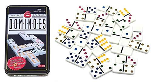 Dominó de Colores Dominó en Caja de hojalata Dominó Seis Doble Conjunto Profesional Club Set dominó Juego Caja de hojalata Dominó Doble Seis Caja de Metal
